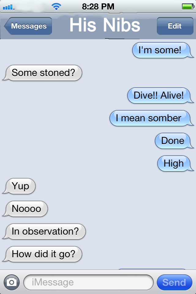 I mean somber. (I didn't mean somber. Even my autocorrect was high.)
